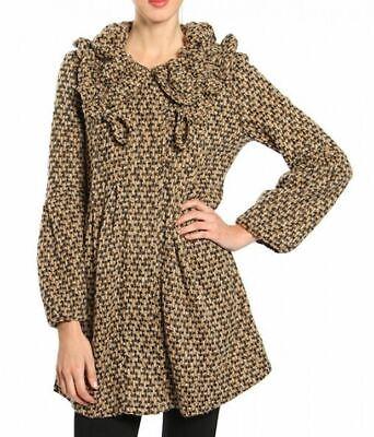 RYU Knit Cardigan Swing Jacket Coat Long Bell Sleeves Ruffled Collar Large Brown