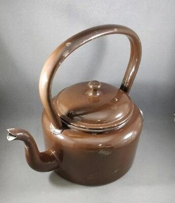 Shabby Chic Vintage Swan? Brown Enamel electric kettle - Tested Item