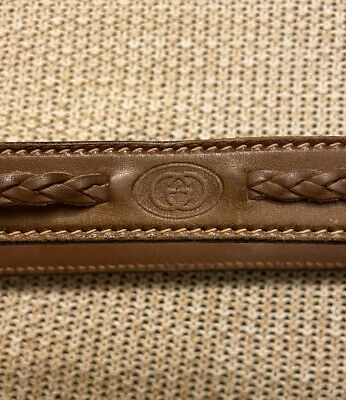 Gucci Authentic Vintage Brown Logo Genuine Leather Belt 90/36