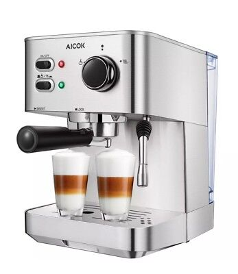 AIKOK Espresso/Capuccino/Latte Maker 15 Bar Espresso Stainless Steel CM4682-V