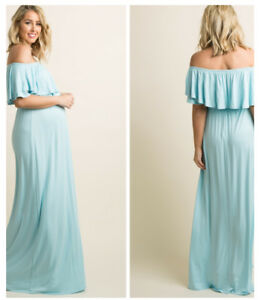Pink Blush Maternity Maxi Dress in light blue worn once