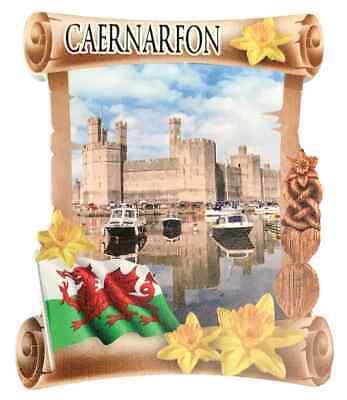 Caernarfon Castillo Rollo Welsh Recuerdo Imán de Nevera