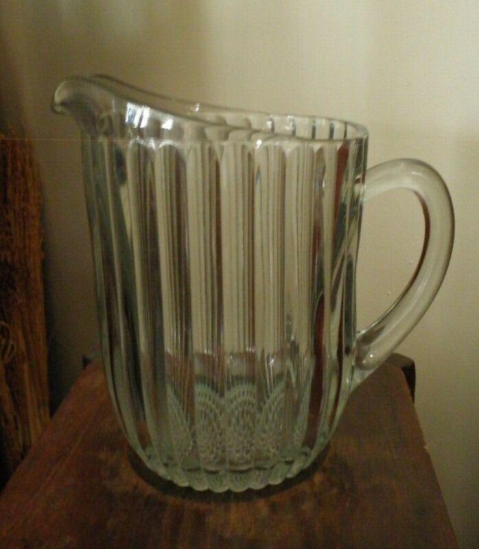 VINTAGE GLASS PITCHER - RIBBED W/HOBNAIL BOTTOM