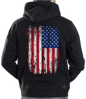 AMERICAN FLAG Distressed Hooded Sweat Shirt Hoodie Patriotic ~ USA ~ Military
