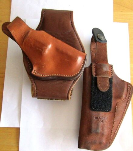 2 VINTAGE BIANCHI BACK UP LEATHER HOLSTERS  6D-15 & #12  USED BUT NICE