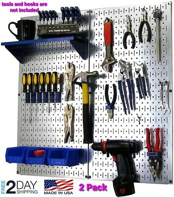 Metal Peg Board Organizer Rack Wall Control Garage Storage Galvanized Steel Tool