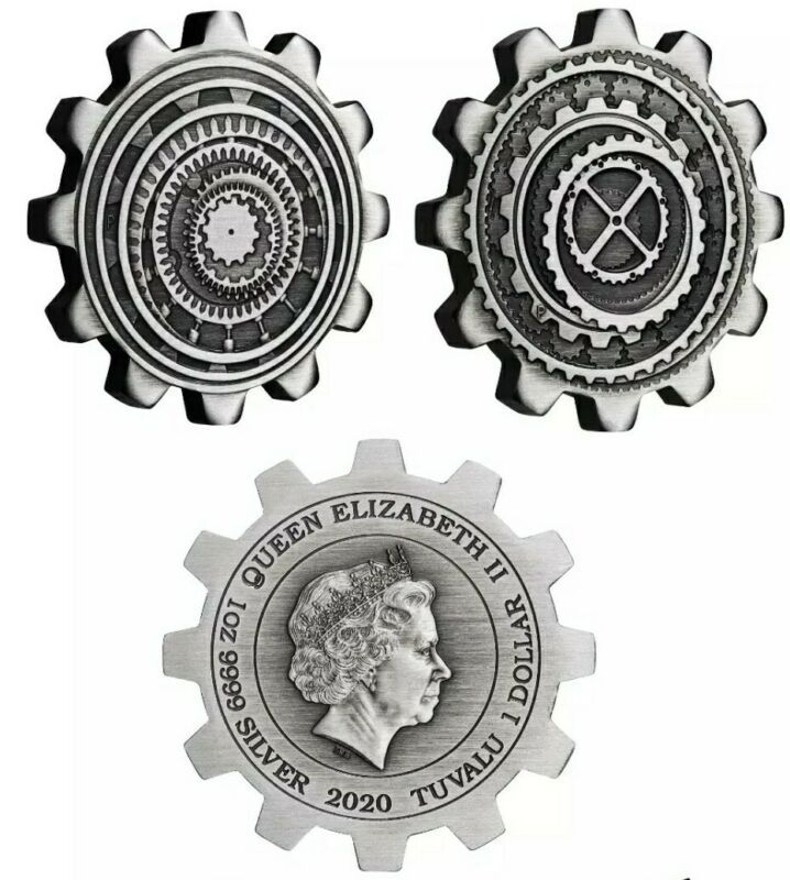 2020 2 x 1 Oz Silver Tuvalu INDUSTRY IN MOTION Gear Shaped Coin Set.