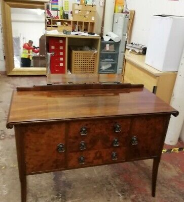 Vintage Dark Wood Dressing Table With Mirror - CS L36