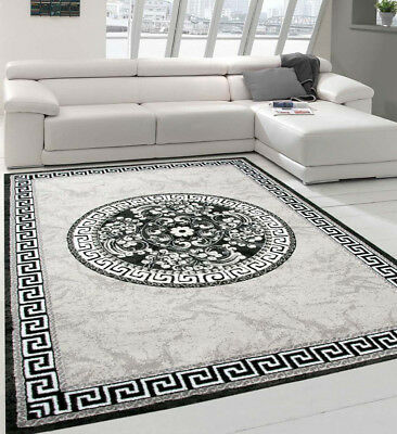 Oriental Rug Grey Silver Glitter Versace Style Design Small Large Living Room