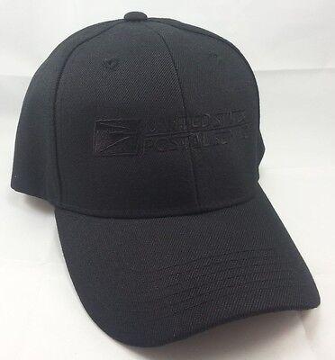 USPS Embroidered Baseball Hat Black w/ Black Embroidery / USPS LOGO2 Cap
