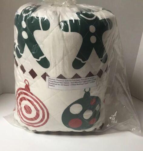 NEW Bedsure Christmas Quilt Set Full/Queen Size  Gingerbread