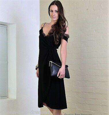 John Zack Wrap Over Cold Shoulder Dress size 8-16 Black | eBay