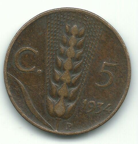 VINTAGE BETTER GRADE 1934 R ITALY 5 CENTESIMI COIN-AGT314