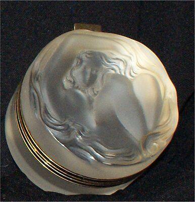 Lalique France JAR GOLD RIM Nude Daphne Frosted Glass Dresser Jar Powder Box