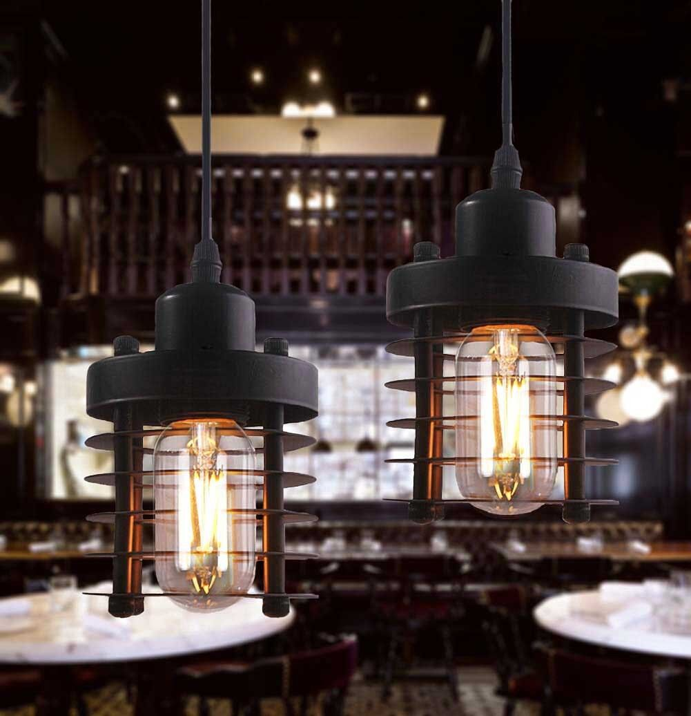 Industrial Vintage Black Metal Circle Ceiling Lamp Pendant