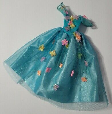 BARBIE DOLL CLOTHES BLUE TULLE SHIMMERY FLOWERS GLITTER GOWN DRESS FAIRY FASHION