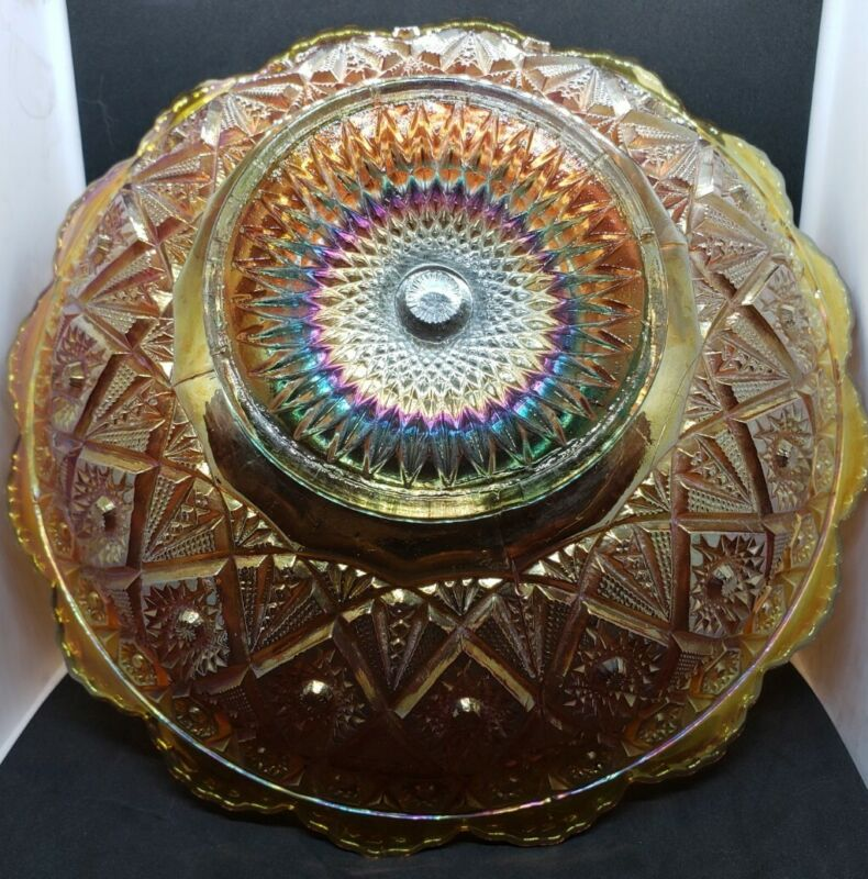 """Imperial Diamond Lace 8.5"""" Bowl Marigold Carnival Glass"""