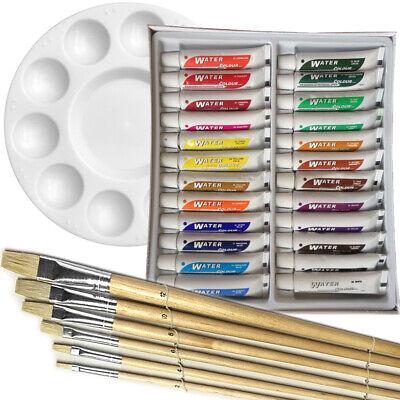 Artist 24 WATERCOLOR COLOR Painting Paint Set + 6 Brush Set