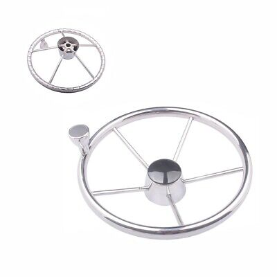 Marine Steering ( Marine Stainless Steel 13-1/2'' Boat Steering Wheel Knurling 5 Spokes with Knob )