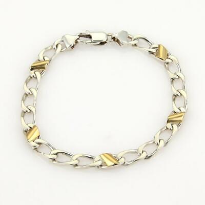 Tiffany & Co. Vintage 925 Silver & 18k Yellow Gold Chain Link Bracelet