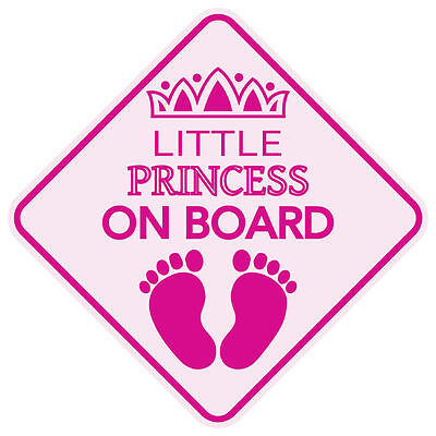 MAGNET REFLECTIVE LITTLE PRINCESS ON BOARD BABY CHILD CAR SIGN USA MADE Board Car Magnet