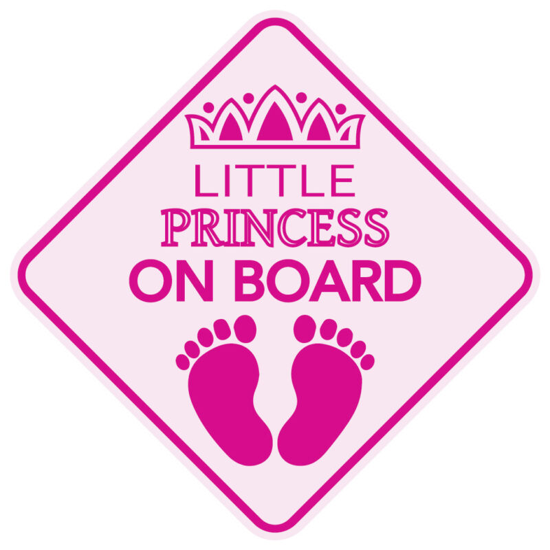 """LITTLE PRINCESS ON BOARD Baby Sign 5""""x5"""" Sticker Decal Buy2Get3rdFREE Made in US"""