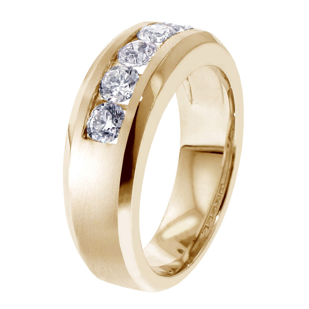 1.00 CT Channel Set Diamond Mens Wedding Ring in 14k Yellow Gold NEW! 4
