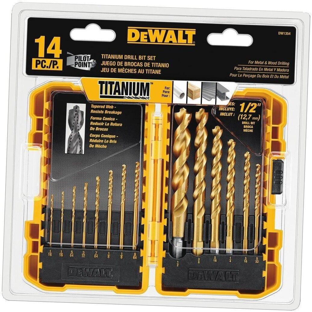 BRAND NEW! DEWALT DW1354 14piece Titanium Drill Bit Set