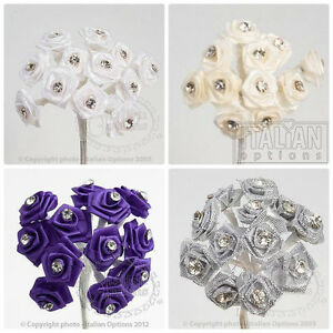 DIAMANTE-RIBBON-ROSE-FLOWERS-WEDDING-WIRED-SMALL-FAVOUR-DECORATION