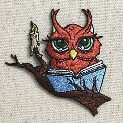 Reading Owl - Book/Candle - Iron on Applique/Embroidered Patch - Reading Owl