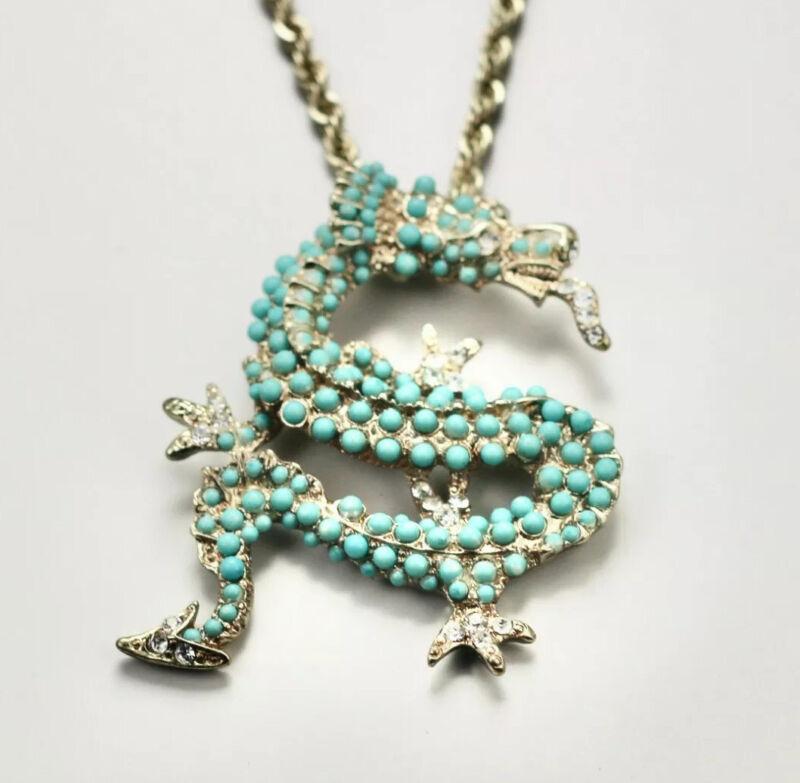 Vintage Signed Kenneth Jay Lane Dragon Necklace