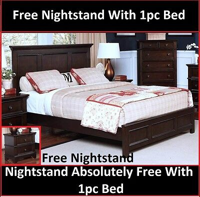 Bedroom Furniture Transitional Queen Size Bed Sable Color with Free Nightstand