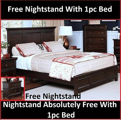 Bedroom Furniture Transitional Eastern K.Size Bed Sable Color w/Free Nightstand