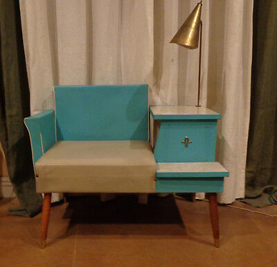 Rare Atomic Vintage Mid-Century Aquamarine Phone Chair Bench Table With Lamp