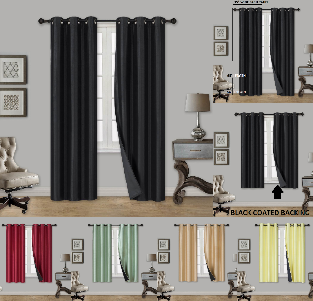 NEW Insulated Thermal 100 Sunlight Blocking Blackout Window Curtain Panels Set