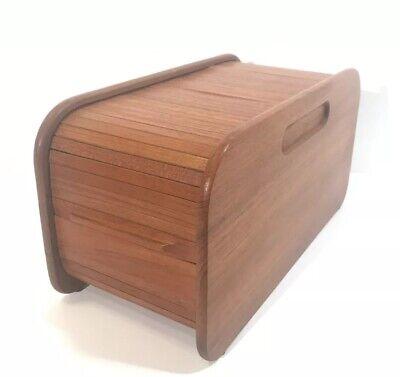 "Vtg Mid Century Teak Storage Box Tambour Rolling Top Made In Thailand FIN 14.25"""