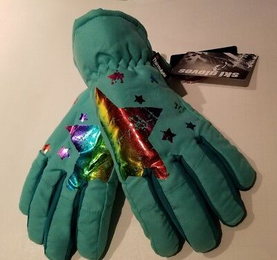 Girls Authentic American Heritage Turquoise Thinsulate Waterproof Ski Gloves M/L
