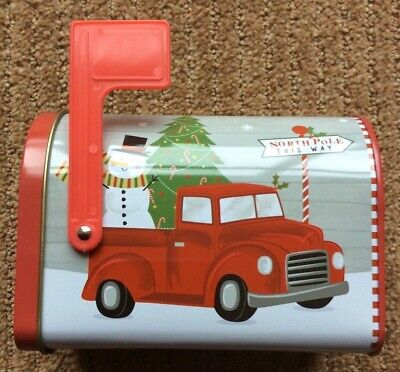 Winter Mini Mailbox Tin Box with Red Truck & Camper Snowman carrying a Tree