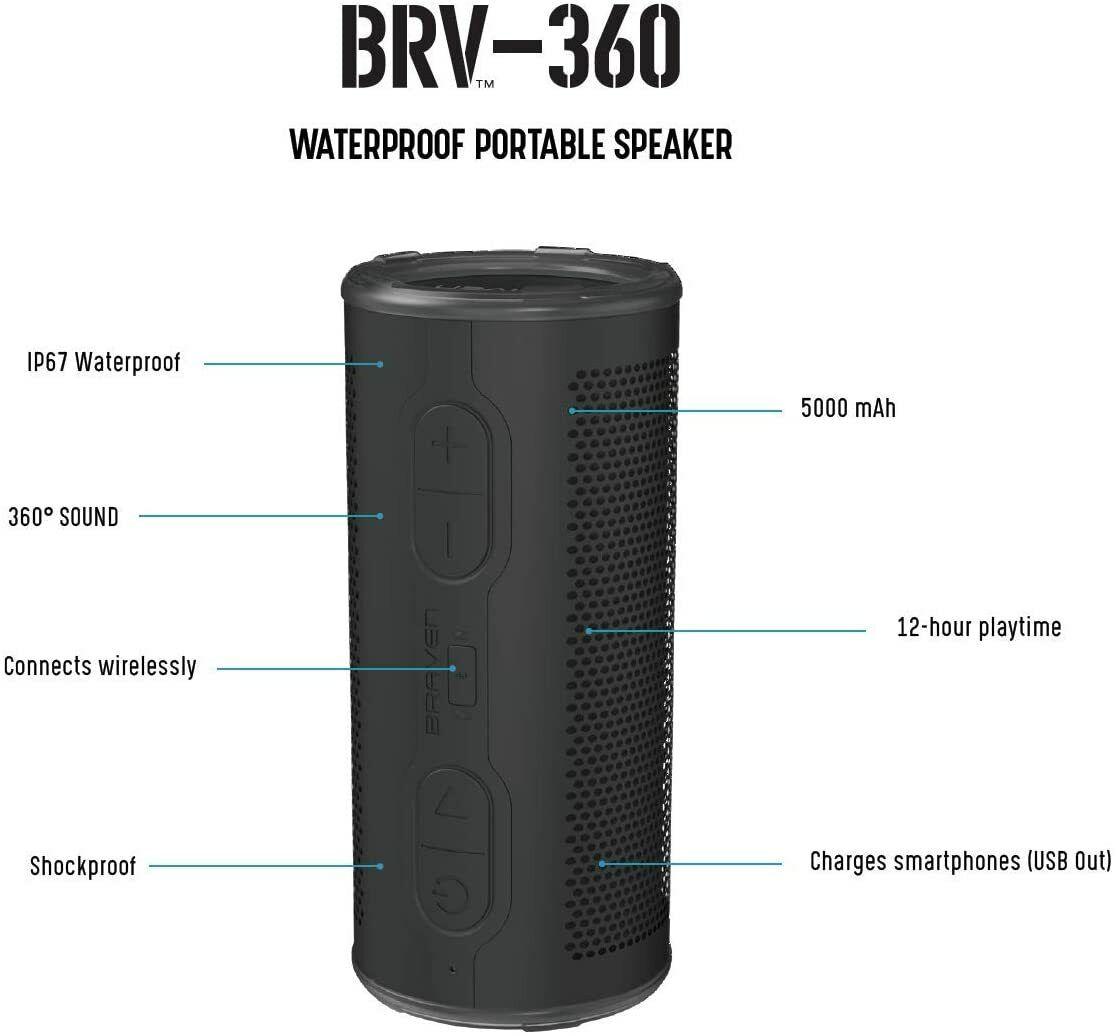 waterproof portable speaker brv 360 bluetooth wireless