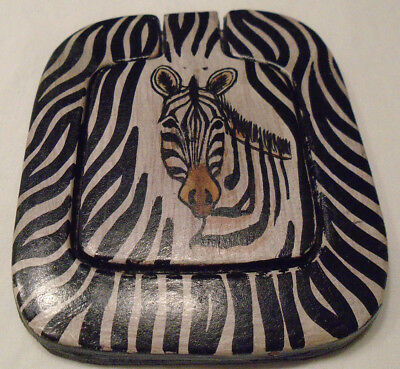 Zebra Pocket Cosmetic Mirror leather-type frame African style flip-up lid Animal for sale  New Ipswich