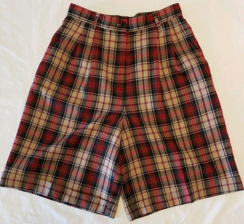 Vtg High Waist Wool Shorts Womens 6 Plaid Wide Leg Bermuda Pants Red Tan 70s