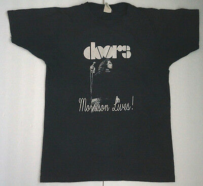 Vintage Authentic Genuine DOORS Jim MORRISON LIVES T-Shirt Size Small USA Made