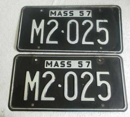 1957 Massachusetts  Municipal License Plate Tag M 2025 pair