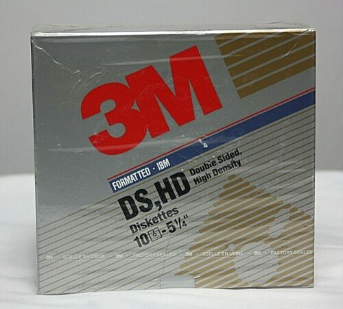 "NOS 3M IBM Formatted 5 1/4"" Double Sided HD Disks Diskettes SEALED Box of 10"
