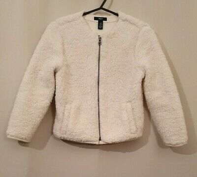 Girls Age 8-9 Years Ivory Colour Fluffy Zip Up Jacket Coat By GAP KIDS