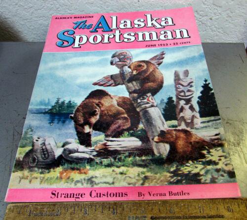 vintage June 1953 Alaska Sportsman magazine, great cover art, good shape