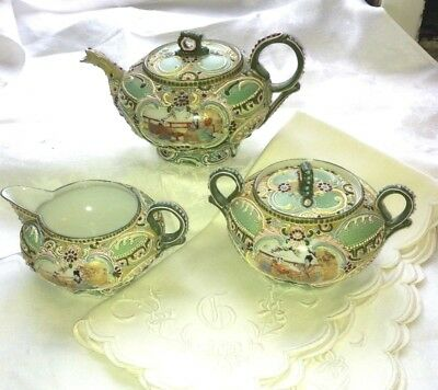 GORGOUS ! old ant signed moriage teapot suger creamer greens signed