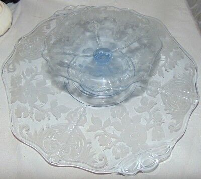 Cambridge Glass Blue Apple Blossom Cheese Stand Plate & Cracker Pedestal Dish