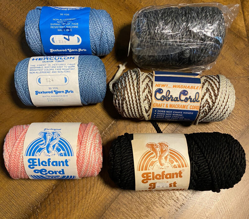 Macrame Cord Lot of 6 Skeins Twisted Craft Cord Rope ~ New Old Stock Vtg