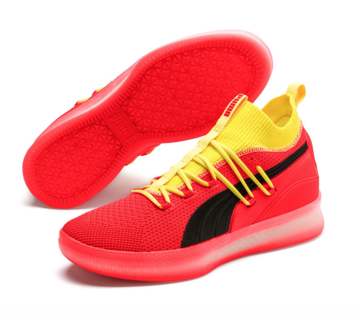55b8435473f Puma CLYDE COURT Disrupt Red Blast Yellow Black Orange Basketball ...